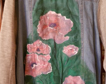 Cotton/Denim Jacket - Poppies - Flowered Jacket - Hand-Painted - L Womens Jacket