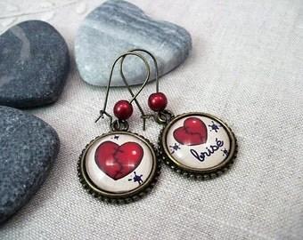 Earrings cabochon glass heart BREAKS