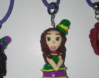 Mardi Gras Girl Clay Pendant on a Purple rope necklace