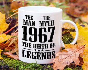 Born In 1967, 50th Birthday Present, Mens 50th Birthday Gift, Year Of Legends, The Man The Myth, Gifts For Him, Fathers Day Gift, 1960s Mug