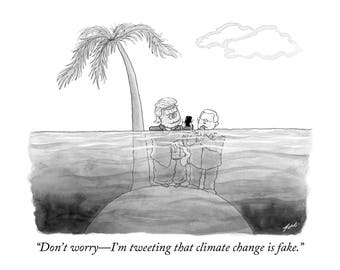 "Signed print of my New Yorker cartoon ""Don't Worry - I'm Tweeting That Climate Change Is Fake"""