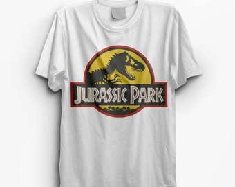 Jurassic Park Yellow White Vintage Look T-Shirt - S M L XL