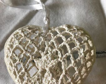 Hanging Shabby Crocheted 3-d  Heart