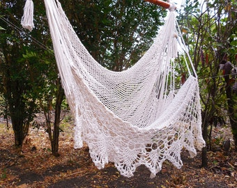 Large hammock chair with crochet edge