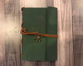 GREEN Leather Journal, Personalized Journal, Engraved Journal Notebook Personalized Diary, Genuine Leather Valentine Gift