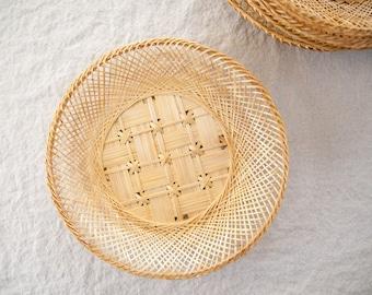 Vintage Wicker Shallow Baskets, Set of 6