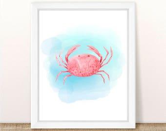 PRINTABLE Watercolor Crab Print, Sea Animal Nursery Print, Marine Nursery, Ocean Nursery Printable Art, Prink Crab Fish Nursery Printable