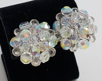 Classic AB Cut Crystal Cluster Clip Earrings