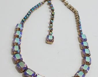 Stunning Emerald Cut AB Rhinestone Necklace