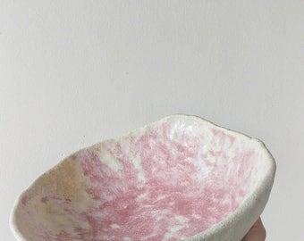 pink stoneware ceramic serving bowl