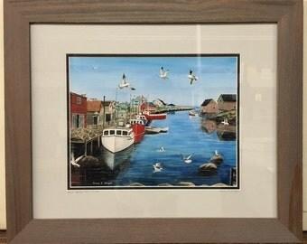 Peggys Cove Fishing, Nova Scotia Oil Painting Print