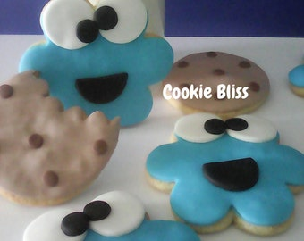 12 Cookie Monster Cookies Party Favors Kid's Birthday Baked Goods Sugar Cookies Handmade Cookies Decorated Cookies Cookie Gifts Edible Goods