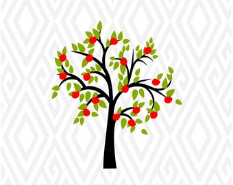 Apple Tree Cuttable Design in SVG; DXF; PNG; Ai; Pdf; Eps