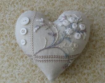 Embroidery Heart Pincushion Kit, Silk Ribbon Embroidery Kit