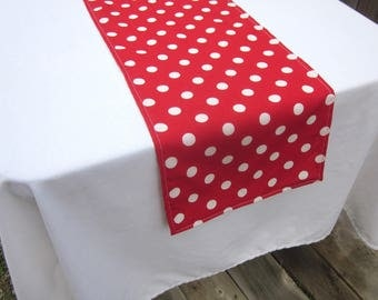 Red  and White Dot Table Runner - Wedding, Birthday Party, Bridal Shower, Baby Shower, Dr. Suess Party, Mickey Mouse Party