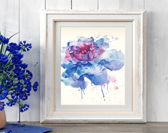 Original handmade watercolor painting, abstract blue rose colorful art