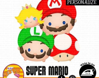 Mario Bros Shirt printable iron on, Super Mario Shirt printable iron on, Princess Peach printable iron on, Nintendo Shirt iron on