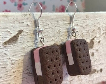Neapolitan Ice Cream Sandwich, Handmade Polymer Clay Miniature, Charm/Earrings/Necklace