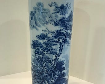 Vintage Blue and White Asian Ceramic Vase