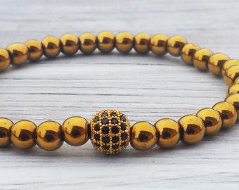 Golden Hematite Bracelet Zirconia Bracelet Mens Bead Bracelet Fathers Day Gifts For Men Gifts For Him Boyfriends Gifts Mens Jewellery Gift
