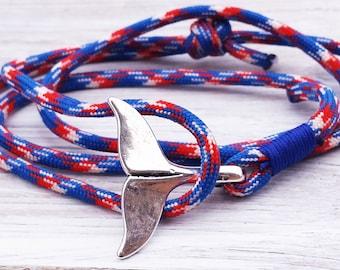 Whale Tail Bracelet Paracord Wrap Bracelet Parachute Rope Bracelet Nautical Bracelet Gifts For Him Cord Cuff Bracelet