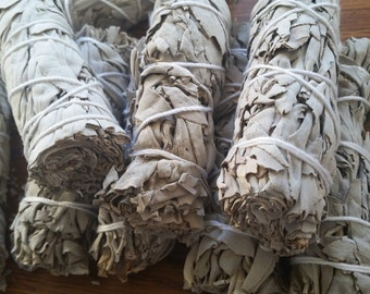 White Sage Bundle, ONE California White Sage Stick, Sage Smudge Wand, Sage Smudge Bundle, Ceremonial Sage, Sacred Plant Smoke,
