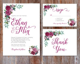 Flower Wedding Invitation, Floral Invitation, Roses Invite, Pink Flowers, Watercolor Flowers, Printable Invitation, Purple Romantic 001