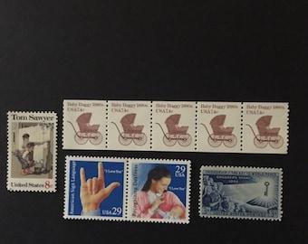 Stamps centered around Children - Baby Buggies - Tom Sawyer- chilren's Stamp-American Sign Language