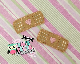 Set of 4 Band-Aid With Heart Feltie, Felt Appliques, Felt Embelishment