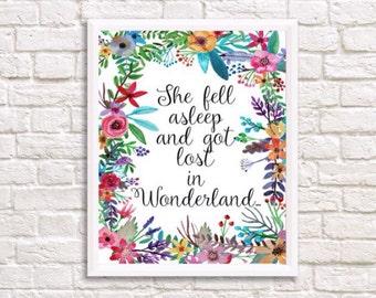 Alice in Wonderland print, alice in wonderland home decor, poster, alice in wonderland wall art print, alice print, baby's room, girls room