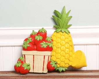 Vintage Kitchen Wall Decor-Retro Pineapple Strawberry Lemon Plastic Wall Hanging-70's Kitchen-Strawberry Basket-Fruit Display
