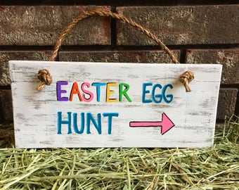 Easter Egg Hunt Wood Sign / Easter Sign / Egg Sign / Spring Sign / Easter decor / Spring decor