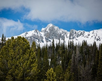 Snowy Mountain Peaks - Landscape Photography - Rustic Home Decor Photo Print