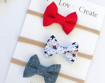 Baby Girl Bow Headband set - Nylon Headbands - Hair clip - Infant / Toddler /  Hair Bows / Clips - 4th of July - red - white - blue - stars