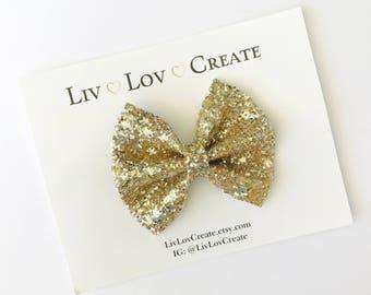 Girl glitter bows - nylon - Elastic Headbands - Hair clip - child / Toddler /  Sparkly Hair Bows / Clips - silver - gold - pop fizz