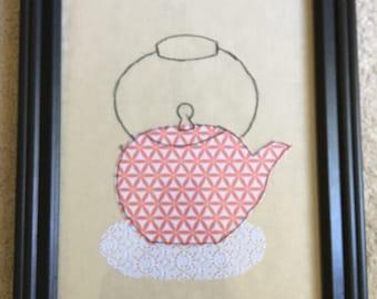 Tea Pot Wall Art (Fabric & Stitching)