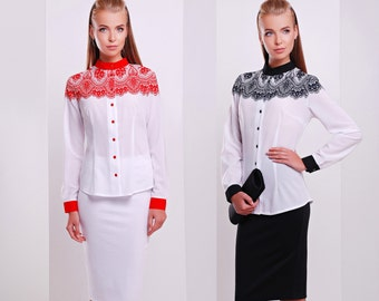Blouse lace pattern ornament ethnic style long sleeve