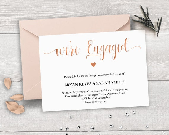 Rose Gold Engagement Invitation Template We'Re Engaged