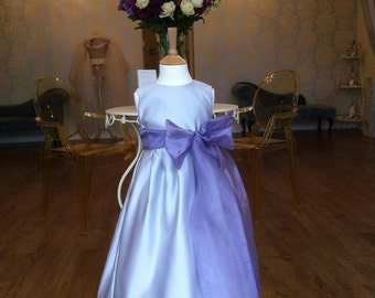 DARCIE     bespoke handmade girls Duchess satin flower girl and bridesmaid dress ..........comes in many colours