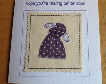 Handmade Get well card. Dog Bereavement Personalised Hand sewn card. Can be personalised with your words printed at the top of the card.