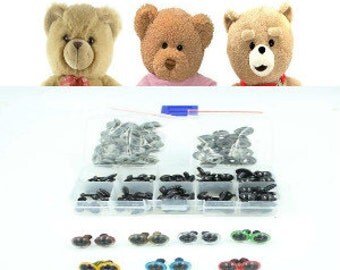Black Plastic Safety Eyes For Teddy Bear Doll Animal Puppet Crafts, 100pcs 6-12mm