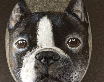 Hand painted Boston terrier dog on large pebble