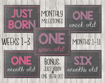 Digital Monthly Baby Milestones | Months | Weeks | Girl