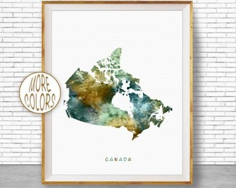 Canada Map Art, Canada Print, Watercolor Map, Map Painting, Map Artwork, Country Art, Office Decorations, Country Map Art Print Zone