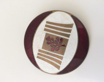 Red, gold and white Enamel Badge