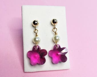 Girls pink crystal flowers earrings- gold flower dangle earrings- kids pink flower gold drop earrings