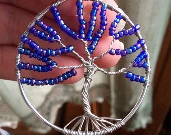 Blue beaded tree of life pendant