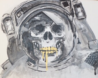 Spaceman Skull ; Acrylic Painting