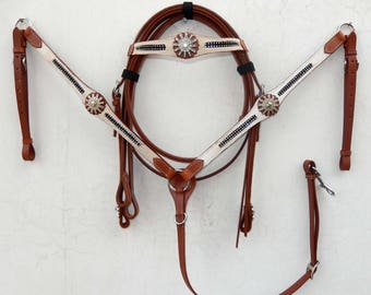 White Leather And Dark Tooled Overlay Western Tack Set - Headstall & Breast Collar Set