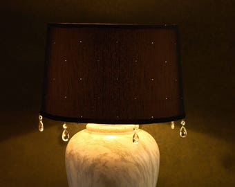 Large marble effect large table lamp base with black diamanté studded silk lampshade